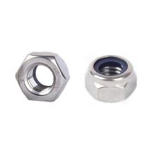 Ecrous en nylon en acier inoxydable 304 18-8 hexagonaux avec bague en caoutchouc bleu DIN 985
