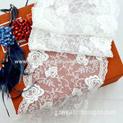 Fashion New Products Cotton Lace Fabric Trim, Embroidery Designs with Mesh Net for Wedding Dresses