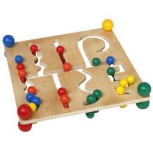 Crianças educacionais de madeira clássica Beads Sequencing Rack Toy