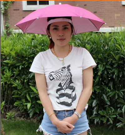 Logo printed Advertising Head hat shape umbrella