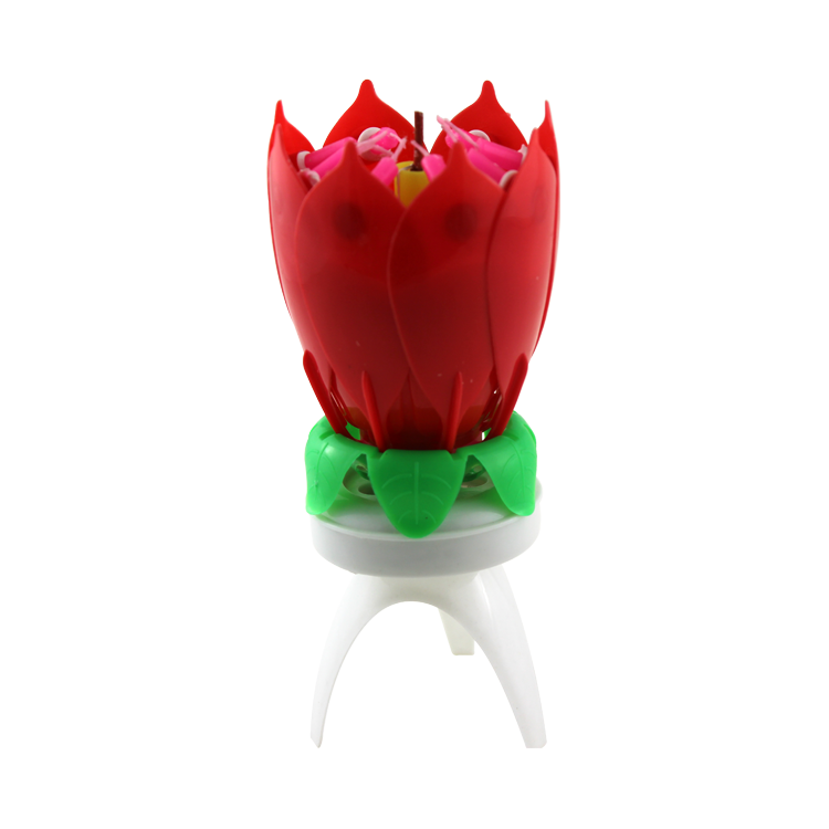Red color lotus candle