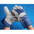 10.5 inches blue cow split leather gloves with full palm for promotion