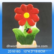Projeto de flor vermelha umidificador de ar cerâmico para quarto