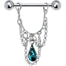 Blue Zircon Teardrop Chain Dangle Nipple Ring