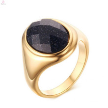 New Arrival Stainless Steel Gold Plated Blue Sand Stone Finger Rings