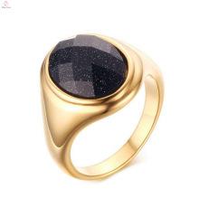 Anéis de dedo azuis da pedra de areia do banhado a ouro de aço inoxidável novo da chegada