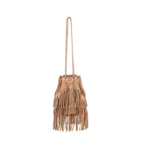 Ladies Tassel Daypack Drawstring Fringe Bucket Bag Wzx1109