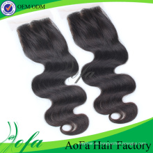 Cierre vendedor caliente del cordón de Iidian Hair Hair / Human Hair
