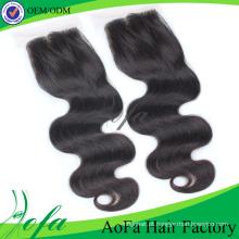 Fechamento de cabelo quente do laço do cabelo do Virgin de Iidian / cabelo humano