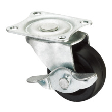 Light Duty Caster Series - 1.5in. Plate Fork W/ Side Brake - Rubber