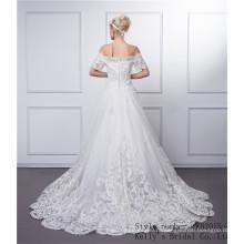 Новое прибытие анти-морщин, дышащий аппликация 3/4 с длинным рукавом кружева модели свадебное платье лодка шеи длинным рукавом свадебное платье