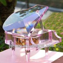 2015 mais novo moda cristal caixa de música de piano de vidro para o casamento ou decoração de casa e lembrança presentes