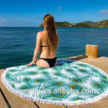 100% cotton amazing peacock feather pattern with tassels green Round Beach Towel RBT-054