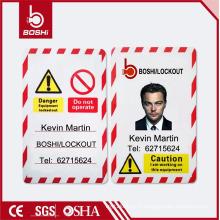 BOSHI BD-P05 étiquette PVC étiquette de sécurité, photo personnelle disponible, personnalisation acceptable