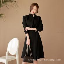 OL professional women's 2020 autumn and summer new fashion stand-up collar waist belt black big swing dress A-line skirt