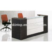 Mesa de recepción de color blanco de mezcla de madera de roble para oficina utilizada, muebles de escritorio de acabado de madera (km924)