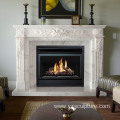 Modern Hand Carved White Marble Fireplace Mantel