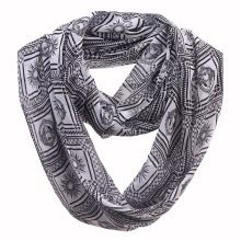 Woman Fashion Apollo Printed Polyester Chiffon Infinity Scarf (YKY1107)