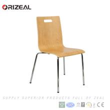 Винтаж изготовлено в Китае металлические стальной каркас из гнутой древесины штабелировать Обедая стулы с отверстием руки ОЗ-1070