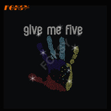 Give Me Five Hand Heat rhinestone Transfer