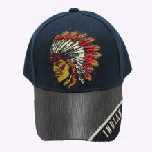 Free Sample Indian Cotton Baseball Cap with Leather Brim
