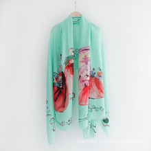 Lady Fashion Printed Viscose Spring Silk Scarf (YKY1130)