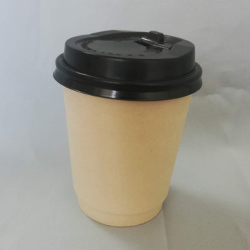 Disposable Paper Cup With Black Lid Coffee Cups