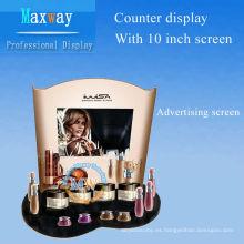 estante de exhibición de los cosméticos con la pantalla publicitaria de 10 pulgadas