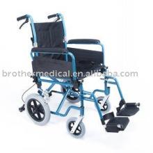 Cadeira de rodas de transporte de alumínio leve dobrável