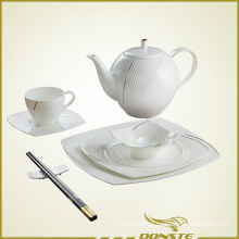 Chinese Tableware Embossed Lines with Golden Stripe