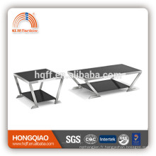 CT-08 ET-08 table basse moderne en verre d'acier inoxydable