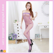 Sexy Lace Fishnet Transparente Mulheres Bodystocking Mostrando Nipple Erotic Stocking