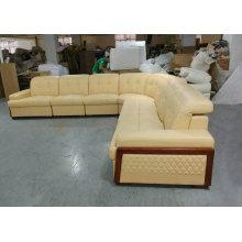 Новые прибытия U форму кожаный диван с кроватью (GA1030)