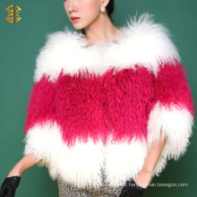 2017 Hot selling cheap women tibet lamb fur jacket