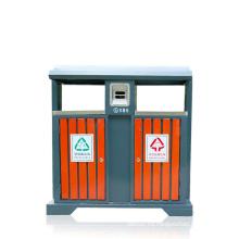 Lata de basura de hierro al aire libre de madera / acero (A4550)