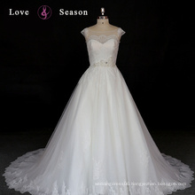 XW6627 cap sleeve cheap wedding dress made in China modest lace beaded modest lace wedding gowns