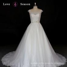 XW6627 boné de manga vestido de noiva barato feito na China modesta laço com contas de casamento de rendas modestas
