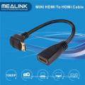 Adaptador de alta velocidad de 90 grados Mini HDMI a HDMI Cable
