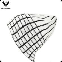 100% Acrylic Grid Jacquard Lattice Pattern Beanie pour Homme