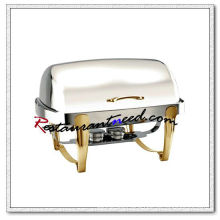 C079 Stainless Steel Rectangular Roll Top Chafing Dish Set With Titanium Plated Handle And Legs