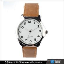 Pulsera de cuero hombre relojes de cuarzo, reloj mens personalizado