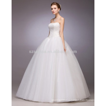 2017 simple style stylish sleeveless ball gown wedding dress with real photos