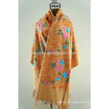Moda feminina inverno lenço bordado