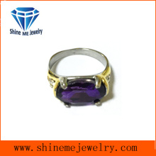 Oval Purple Stones Casting Finger Ring