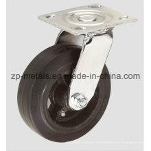 Rueda del echador del eslabón giratorio de goma resistente del hierro de 4 pulgadas