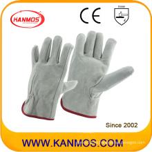 Cuero de vaca gris cuero dividido de seguridad industrial guantes de trabajo (112011)