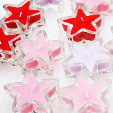 clear glass cup tealights candle with star shape