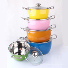 Color Surface Stainless Steel Stock Pot Set 5 piezas con tapa de vidrio