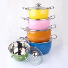 Color Surface Stainless Steel Stock Pot Set 5 piezas con tapa de vidrio
