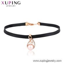 44450 xuping moda 18k chapado en oro anillo de diseño especial en forma de perla decoración collar de gargantilla de cuero